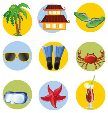 Travel cartoon icons