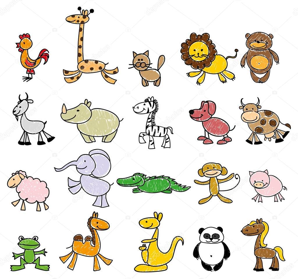 06c0e271b26cb Dibujos infantiles de animales doodle — Vector de stock