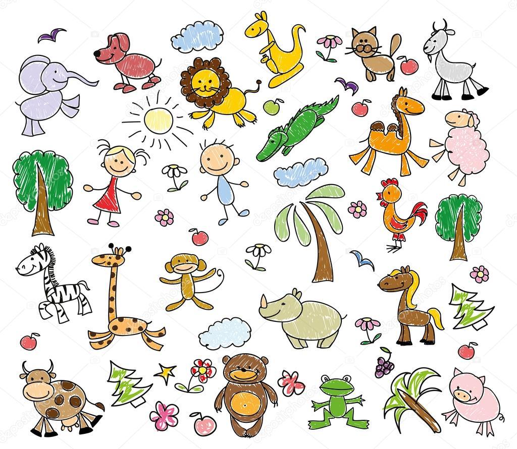 6baced33431cf dibujos infantiles de animales doodle — Archivo Imágenes Vectoriales ...