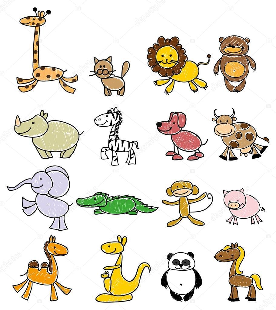 Disegni dei bambini degli animali doodle vettoriali for Disegni di 2 piani
