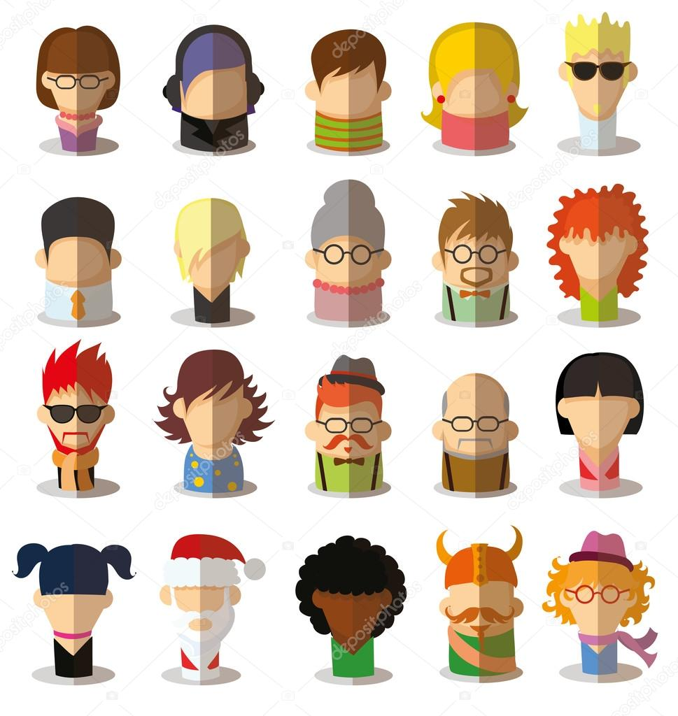 Character Design Icon : Character avatar icons in flat design — stock vector