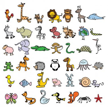 Drawings of different animals