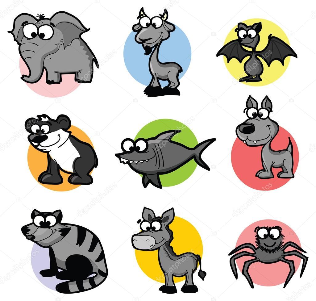 Hayvanlar Sevimli çizgi Dizi Stok Vektör Virinaflora 64067403