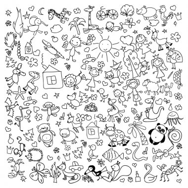 Children's doodle drawings