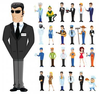 Cartoon bodyguard with  professions