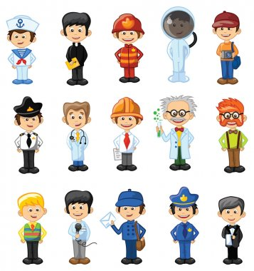 Cartoon professions characters