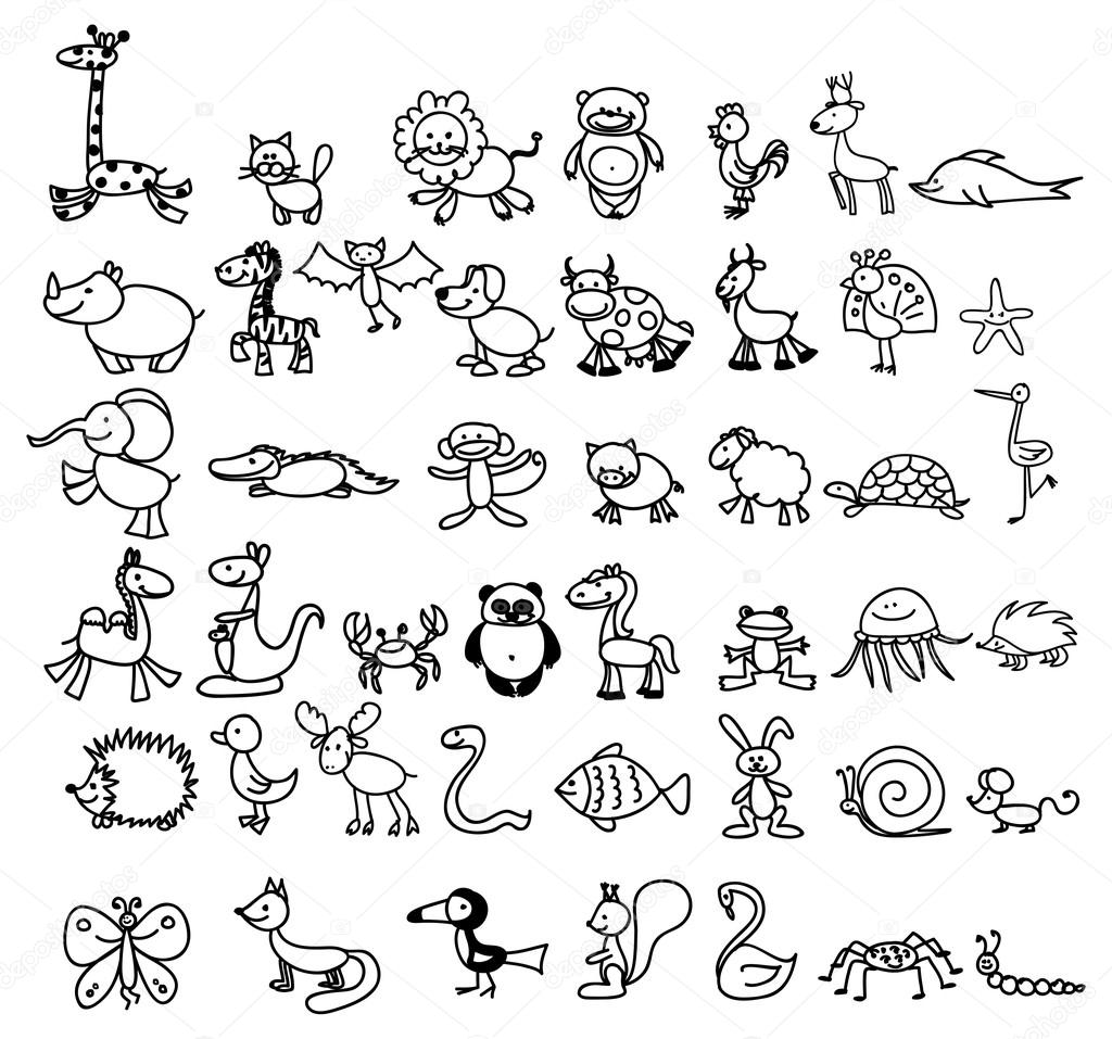 Dibujos De Animales Para Ninos Archivo Imagenes Vectoriales