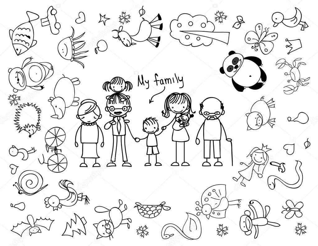 Dibujos De Familia Para Colorear E Imprimir: Vetor De Stock © Virinaflora