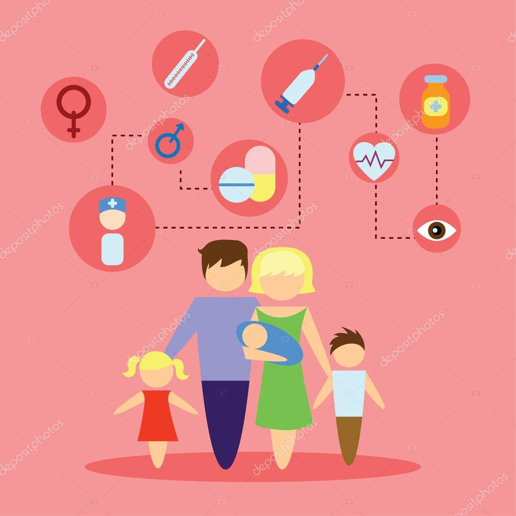 flat icon family health care infographic