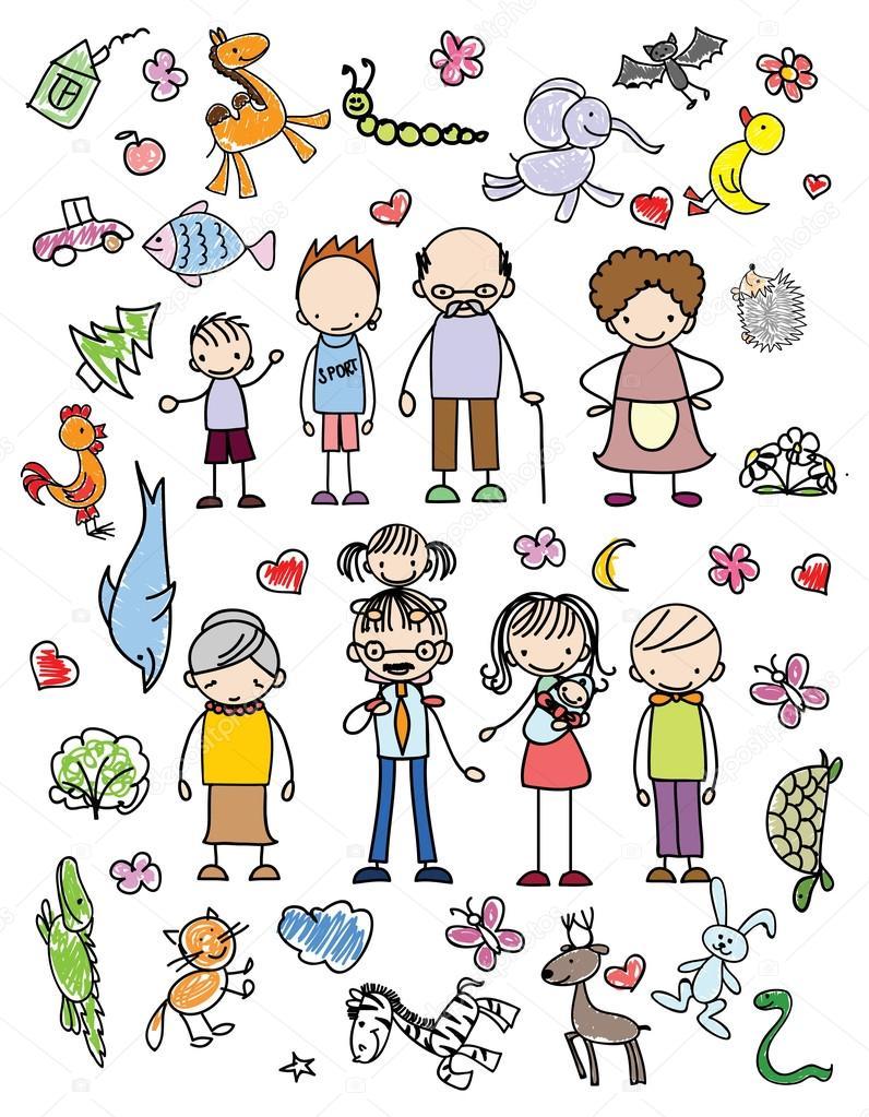 Dibujo De Familia Feliz Para Imprimir Garabatos De Familia Feliz