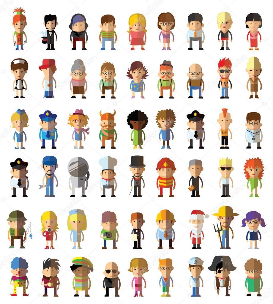 Ensemble D'icônes Avatar Personnage Mignon