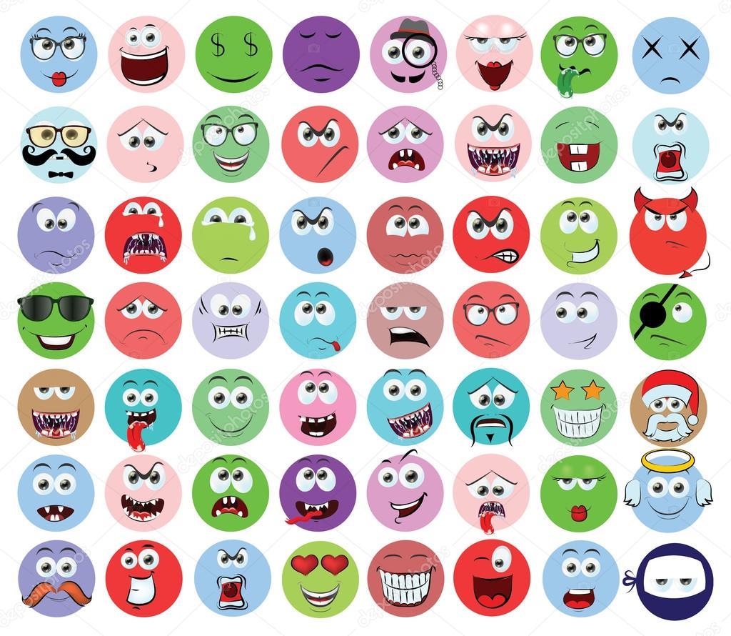 Dibujos Caras De Emociones Animadas Conjunto De Dibujos Animados