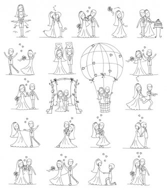 Large set of wedding pictures on white background stock vector