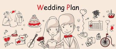 Outline cartoon wedding icons