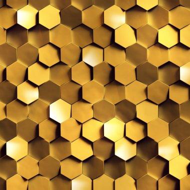 golden honeycomb wall texture