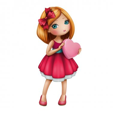 Girl holding pink heart