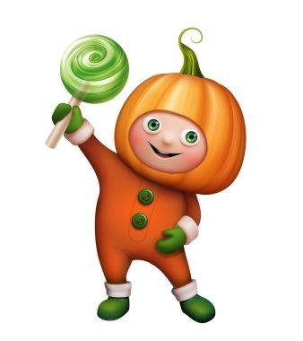 Pumpkin costume holding candy