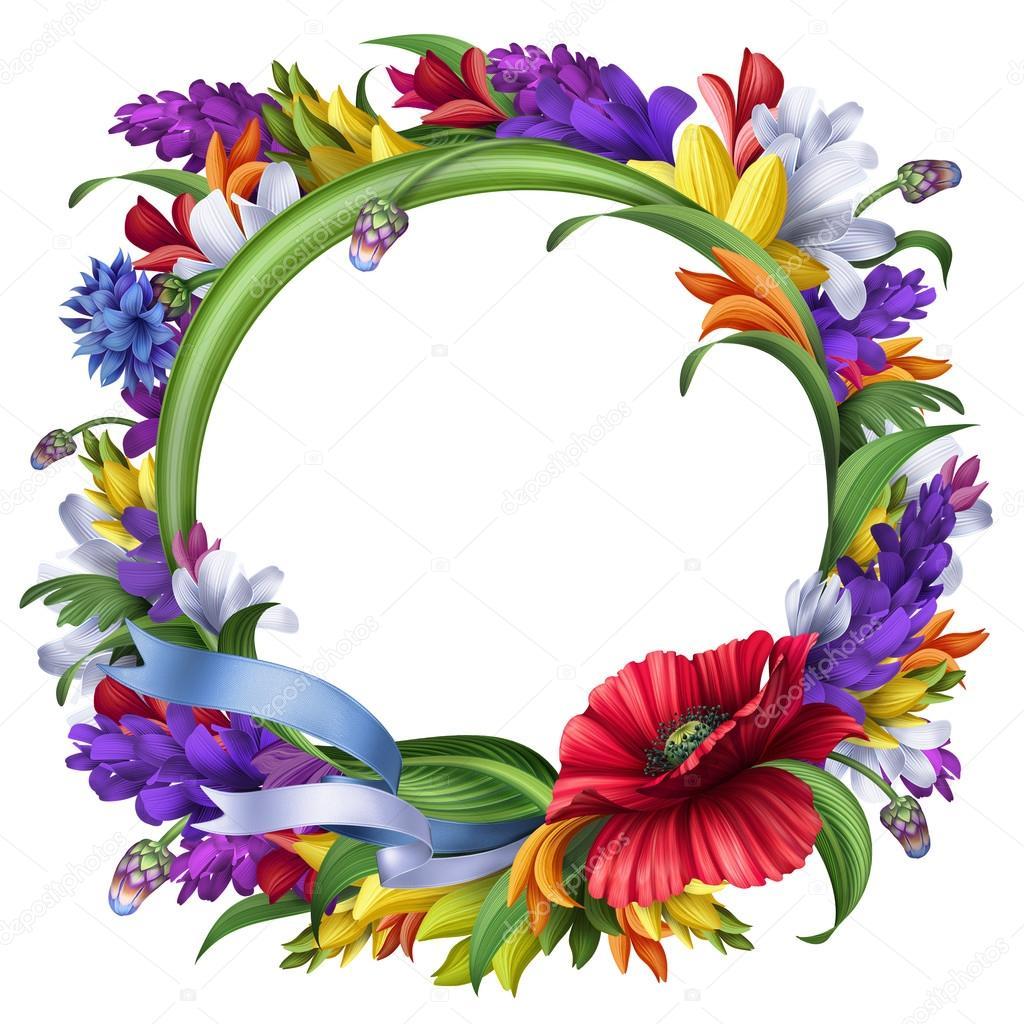 marco floral redondo — Foto de stock © wacomka #54794063
