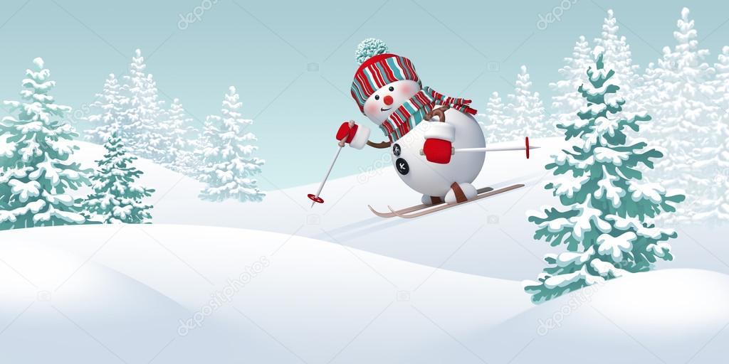 Happy snowman skiing