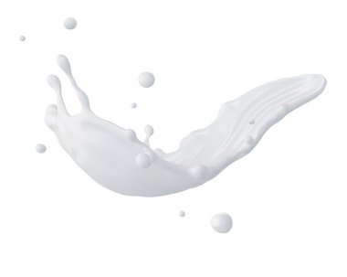 3d abstract liquid milk splash, paint or glue splashing isolated