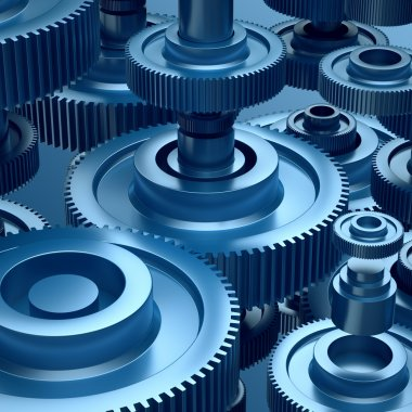 Pinions, 3d abstract technical background, gearwheels
