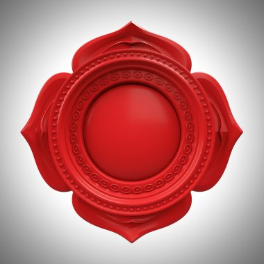 Red Muladhara root or base chakra base, 3d abstract symbol, isolated color design element