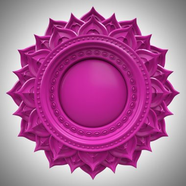 Violet Sahasrara crown chakra base, 3d abstract symbol, isolated color design element
