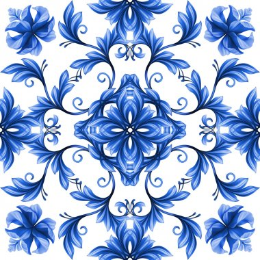 abstract floral seamless pattern, blue white gzhel ornament