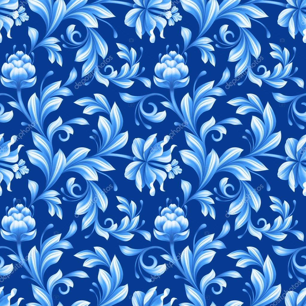 abstract floral seamless pattern, background with folk art flowe