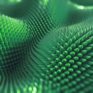 abstract 3d spiny background, computer graphics, green macro tex
