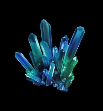 blue green crystals, geological shapes, 3d object isolated on bl