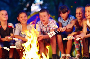 happy kids roasting marshmallows on campfire