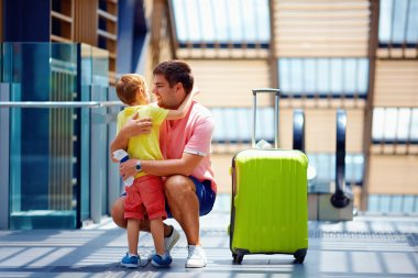 happy father and son meeting after a long parting, in travel