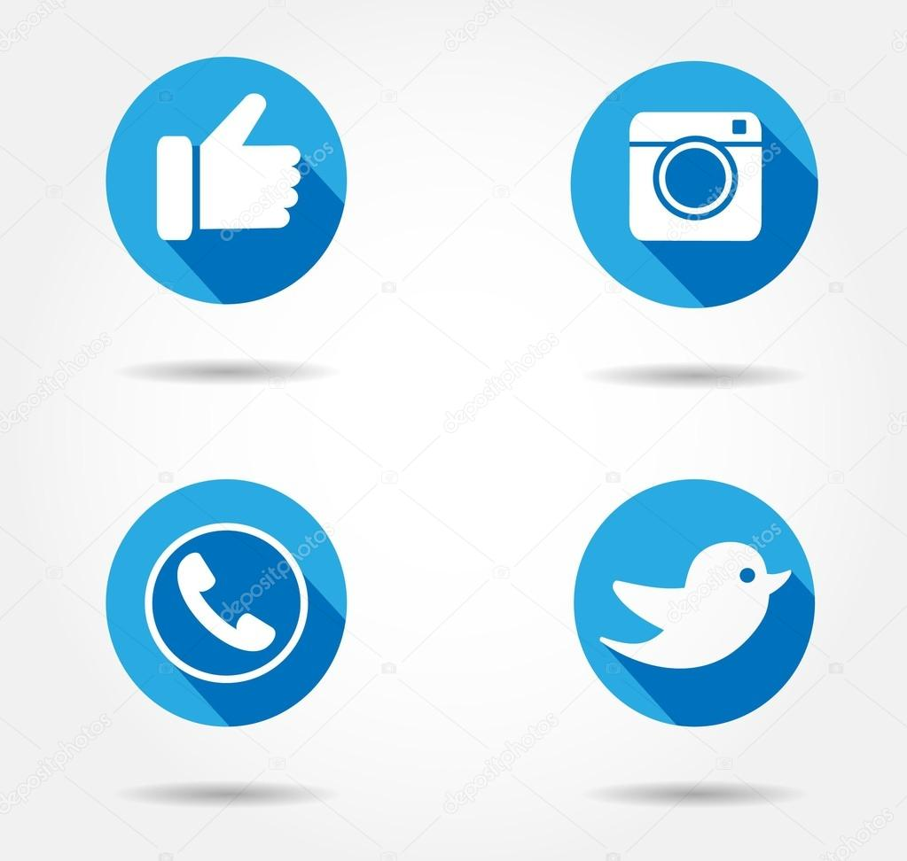 Flat Blue icon set.Soc...