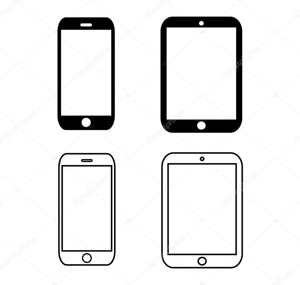black outline smartphone icon vector iphon llustration
