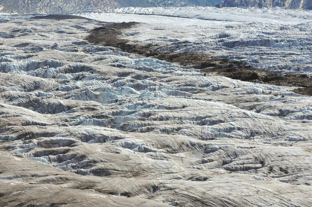 The surface of a large glacier