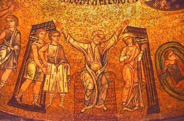 Golden byzantine mosaic