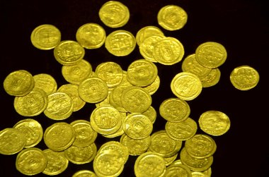Pile of ancient golden coins