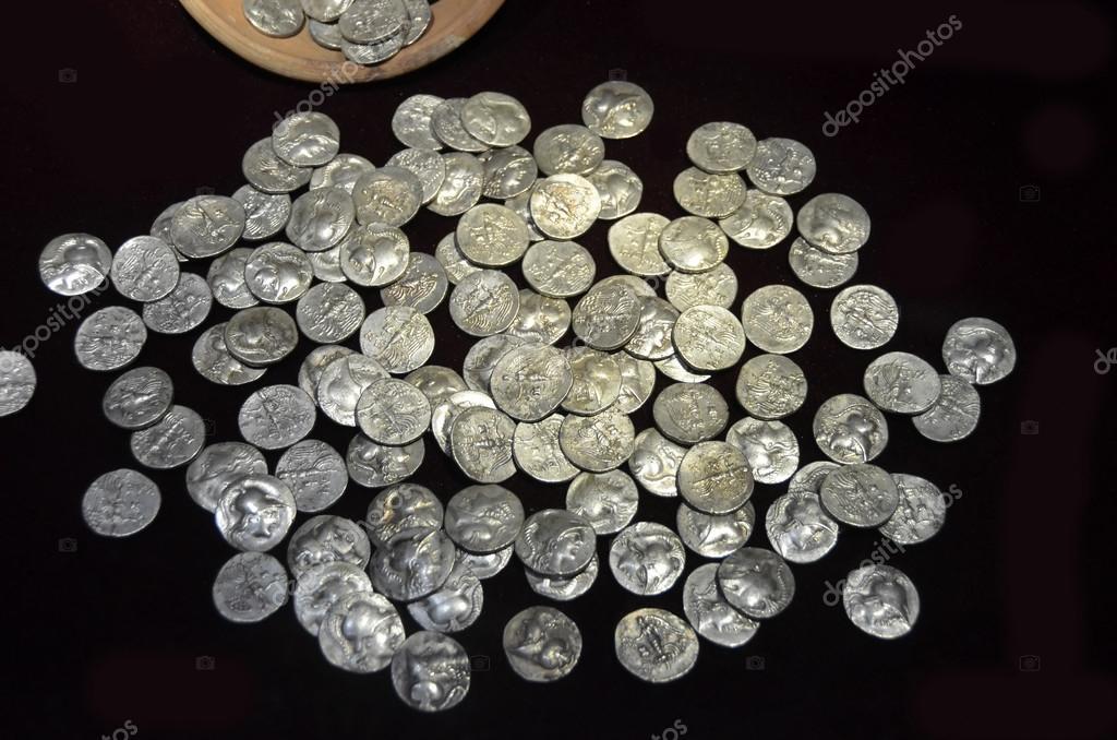 Antike Griechische Münzen Silber Stockfoto Mountainpix 83370708