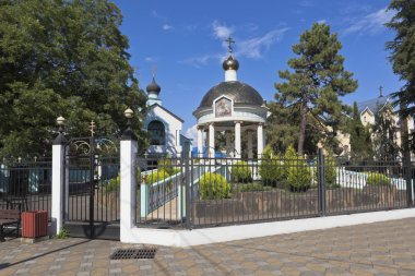 Blessing of the waters rotunda and Holy Trinity Church in settlement resort of Adler, Sochi
