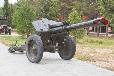 Sevastopol, Crimea - July 28, 2020: Soviet 152-mm howitzer D-1 model 1943 in the memorial complex Sapun-Gora in the hero city of Sevastopol, Crimea