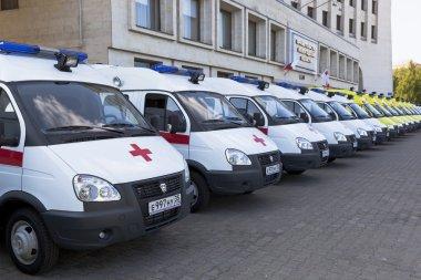 Ambulances near the building Government of Vologda region, Russia