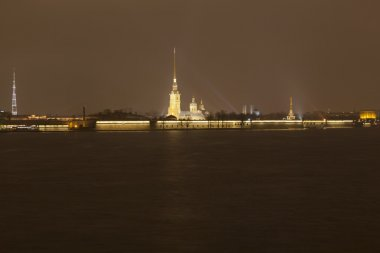 View of the Petropavlovsk fortress at night. St. Petersburg, Russia