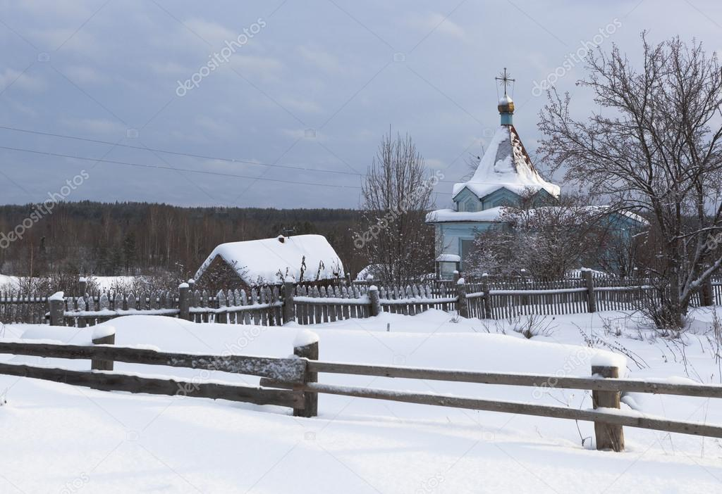 Rustic Winter Landscape With A Chapel Of Our Lady Tikhvin Village