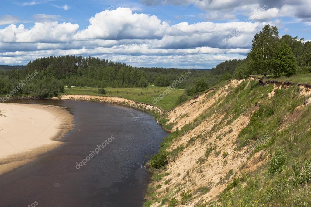 Steep bank rivers Vaga. River View near the village Undercity, Velsky district, Arkhangelsk region, Russia