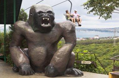 Huge sculpture of a gorilla at the cableway in Safari Park resort city Gelendzhik, Krasnodar region, Russia