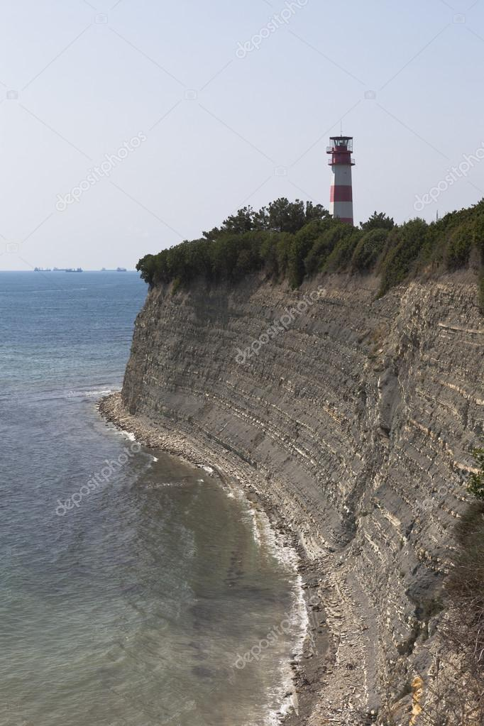 Lighthouse on a steep bank of Tolstoy Cape in Gelendzhik, Krasnodar region, Russia
