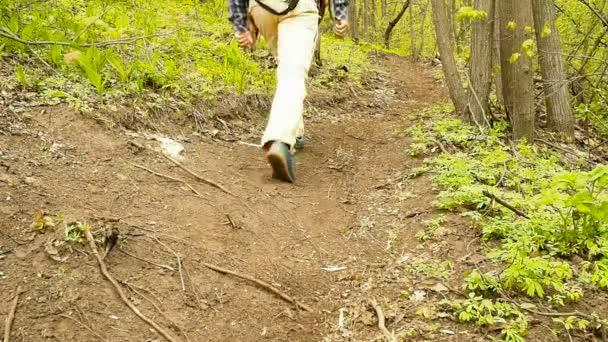 Muž s batohem chůze do kopce lesní stezka. Pěší turistika.