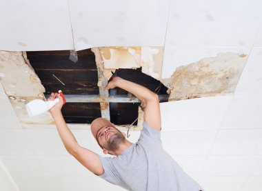 man cleaning mold on ceiling.Ceiling panels damaged huge hole in