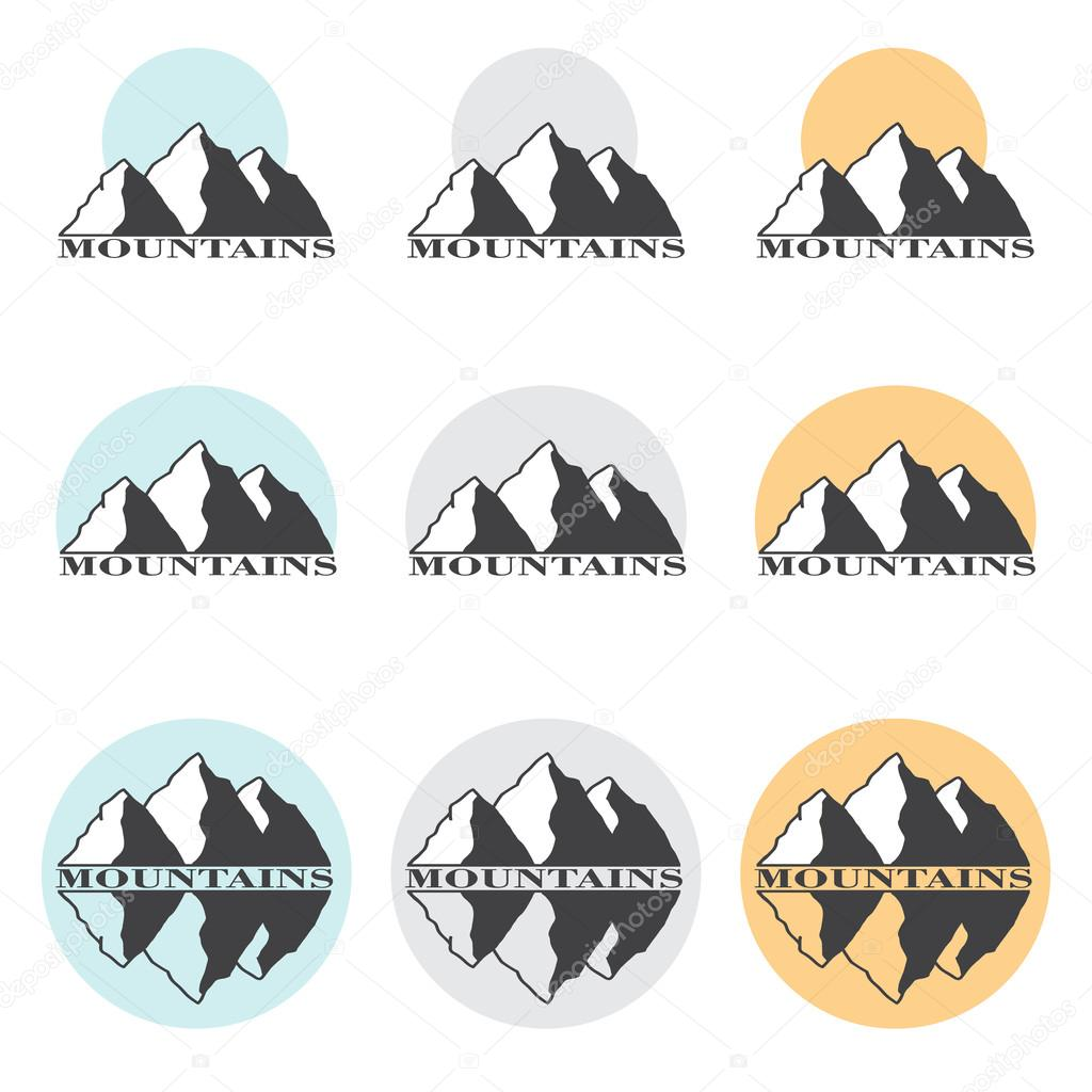 Stock Vector Illustration Mountains Set